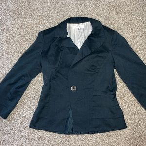 Cabi navy blazer with ruffle detail, size 0